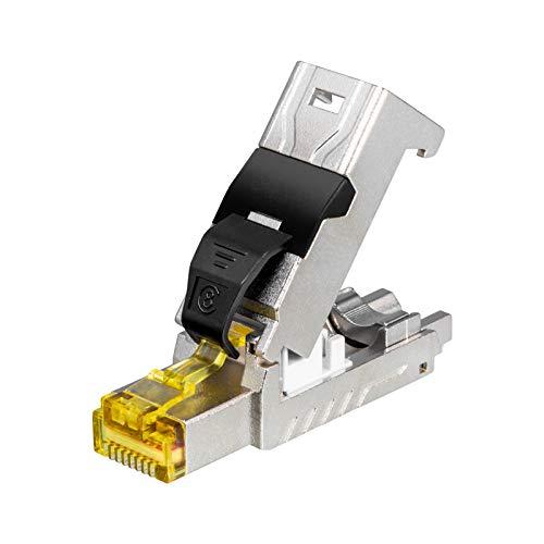 HB-Digital 1x RJ45 Cat 8.1 Enchufe De Red Contactos Chapados En Oro Lan Crimpado Conector Gigabit Para Cable De Parcheo, Cable De Instalación Cat 8.1 Cat 8 Cat 7 Herramienta Libre DSL