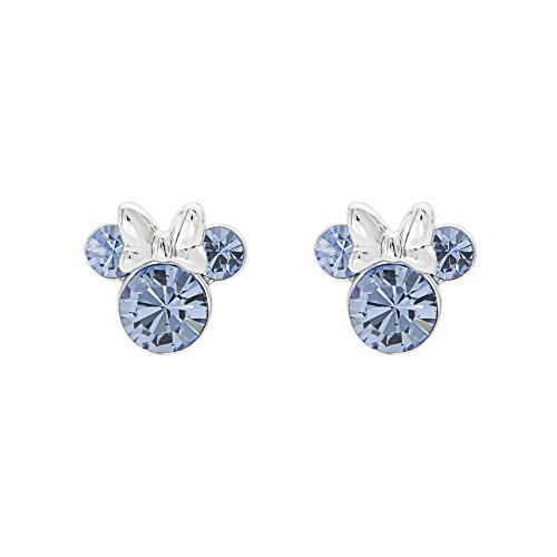 Disney Minnie Mouse Birthstone Jewelry, Silver Plated Crystal Stud Earrings for Women and Girls (More Colors Available) (December-Light Sapphire Crystal)
