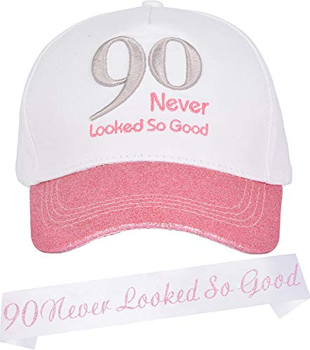 90th Birthday Gifts for Women, 90th Birthday Decorations for Women, 90th Birthday Party Decorations,90th Birthday Baseball Cap and Sash, 90th Birthday Party Supplies Gifts and Decorations