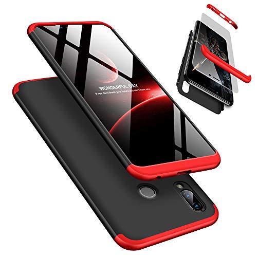 Coque Huawei Honor Play avec Verre Trempé, LaiXin 360 Protection Integrale Housse Anti Rayure Étui Ultra Rigide Léger Couverture Anti-Choc Full-Cover Case pour Huawei Honor Play, Rouge/Noir