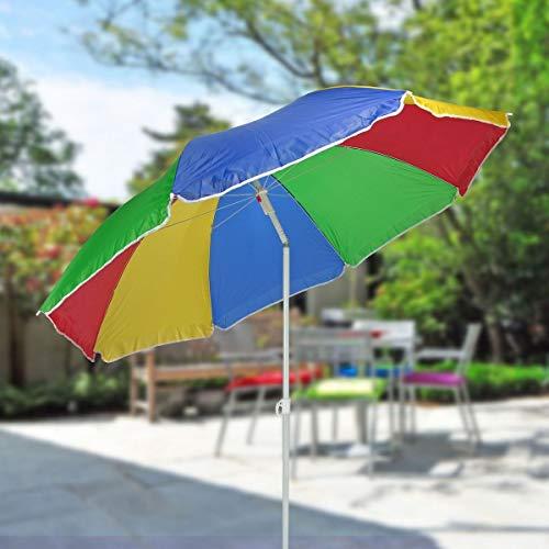 Sonnenschirm 180cm Strandschirm Balkonschirm Schirm Regenbogen Regenbogenfarben - 2