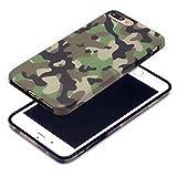 Cujas iPhone 7 Plus kompatible Hülle Weiche Camouflage TPU Silikon Schutzhülle Blickdicht mit IMD Technologie Camo Militär Muster Case Schutz Handyhülle (iPhone 7 Plus Grün)