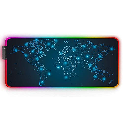 Diidmo RGB Gaming Mouse Pad Mat Extended Large XXL Led Extra Computer Keyboard Desk Pad Mat Anti-Slip Rubber Base Stitched Edges 14 Lighting Modes 2 Brightness Ergonomic Galaxy World Map Mouse Pad