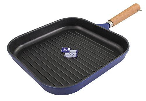 Karcher 122128 Bistecchiera in alluminio pressofuso con manico in legno, blu scuro