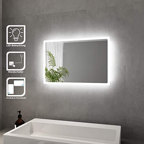 Elegant Badspiegel mit LED-Beleuchtung Energiesparend LED Badezimmerspiegel 40 x 60 cm kaltweiß IP44 Badezimmer Wandspiegel Bad Spiegel