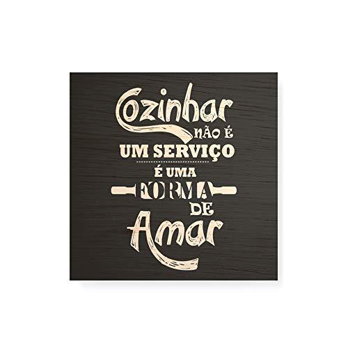 Arte Maníacos Quadro decorativo com moldura caixa branca em Madeira - Cozinhar É uma Forma de Amar - 30x30cm