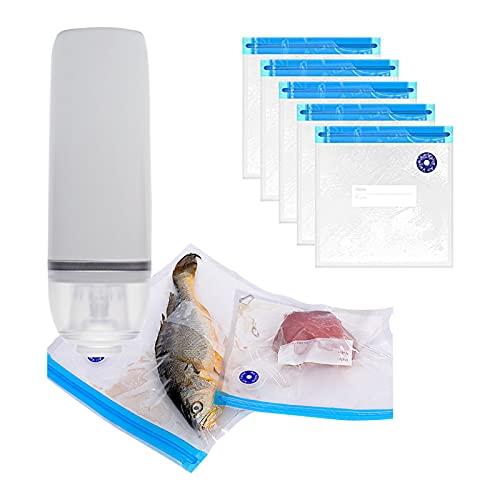 Domary QH-H08 Vacuum Sealer Handheld Food Saver Seladora de alimentos recarregável com zíper Sacos a vácuo Design compacto para cozinha e uso doméstico