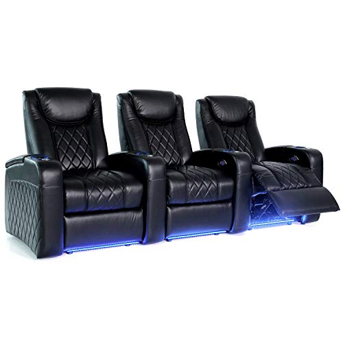 Octane Seating Azure LHR Home Theater Seating - Black Italian Leather - Straight Row of 3 - Power Headrest, Lumbar & Recline