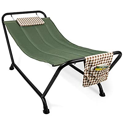 Best Choice Products Outdoor Hammock Bed with Stand for Patio, Backyard, Garden, Poolside w/Weather-Resistant Polyester, 500LB Weight Capacity, Pillow, Storage Pockets - Green