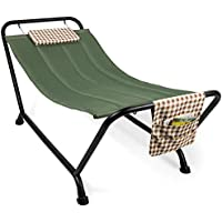 Best Choice Products Outdoor Patio Hammock Bed with Stand, Pillow & Storage Pockets (Green)