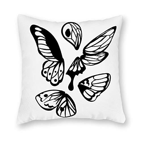 qidushop Funda de almohada de lona con un solo lado, diseño de alas de mariposa, color negro, funda de cojín decorativa, funda de cojín para sofá o dormitorio, 45,72 x 45,72 cm