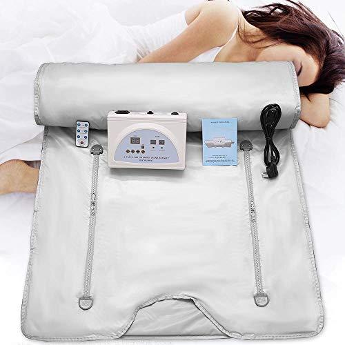 SEAAN Coperta per sauna, coperta termica per terapia a infrarossi lontani (FIR) 220V 2 zone per dimagrimento forma corpo Terapia disintossicante Bellezza anti-invecchiamento (cerniera mano)
