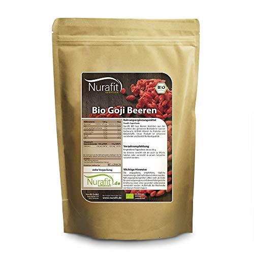 NuraFit BIO Goji Beeren | 500g / 0.5kg | ungeschwefelt und naturbelassen | Raw Vegan Superfood Snack | zertifizierte Premiumqualität nach DE-001-ÖKO