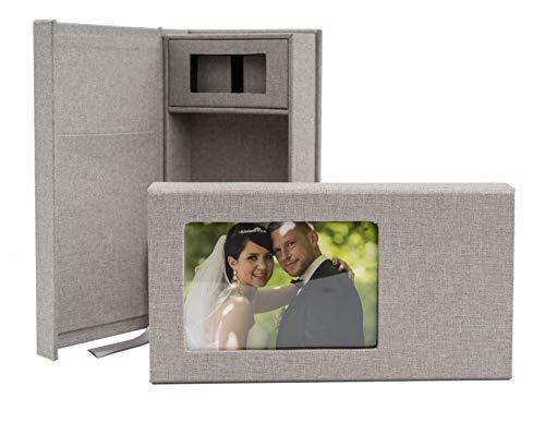 codiarts. Elegante Caja de Fotos con Cubierta Textil para Fotos de 10x15cm y un lápiz USB para fotógrafos, fotografía de Bodas, fotografía de Eventos, Transferencia de imágenes.