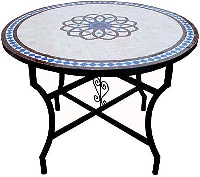 Table de Jardin Mosaïque - Ronde, Ø/H: 60x70cm, Rouge Blanc ...