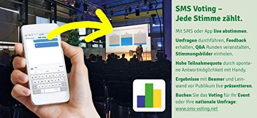 SMS Voting - Jede Stimme zählt. Umfragen durchführen. Abstimmungsergebnisse per Beamer live präsentieren - Audience Response, Teambuilding - Nutzungszeitraum 1 Jahr