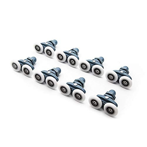Door Roller Bearing, Diameter 23mm 25mm ABS Kunststof Verstelbare Double Swinging Katrol Wiel, Douchecabine Schuifdeur Hardware Roller (Color : 8pcs set, Size : 25mm)