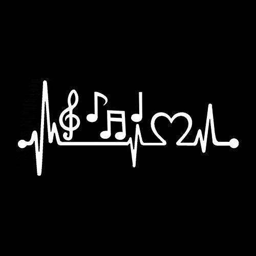 Dandeliondeme Musikalische Note Herzschlag Auto Aufkleber Selbstklebende Body Fenster Dekor für Notebook Skateboard Snowboard Gepäck Gepäck MacBook Auto Fahrrad Stoßstange Weiß