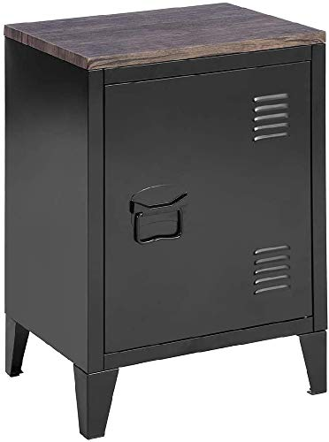 MEUBLE COSY Petit meuble en Acier Noir, Casier en Métal avec Deux étagères et d'un Dessus en Oak, Table de Chevet Style Industriel , black MDF /30x40x59cm
