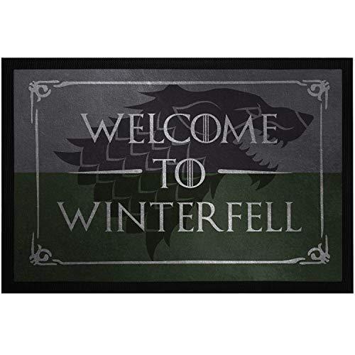 MoonWorks® Fußmatte Spruch Welcome to Winterfell Willkommen Türmatte Wolf Serienfan Fantasy rutschfest und waschbar schwarz 60x40cm