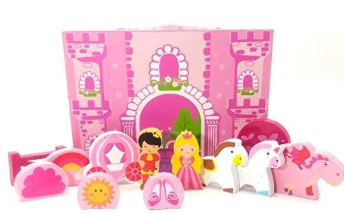 Dollhouse Caja de Viaje, Castillo con Princesa, príncipe, Unicornios, Dragones y más. Figuras de Madera de 11 Piezas, 18 Meses +