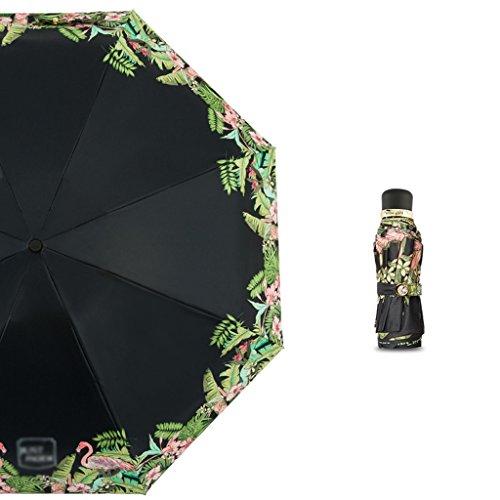 Filles Mini parapluie pliant Protection solaire Parapluie ultra-violet Parapluie ultra léger (Color : Black)