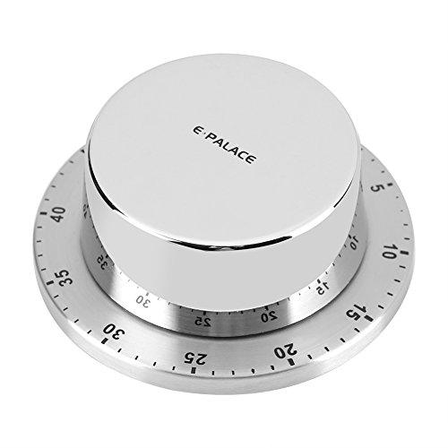 Temporizador de Cocina Mecánico Alarma Temporización de 60 Minutos con Imán Temporizador de Cocina Mecánico de Acero Inoxidable para Casa Temporizador de Hornear Plata