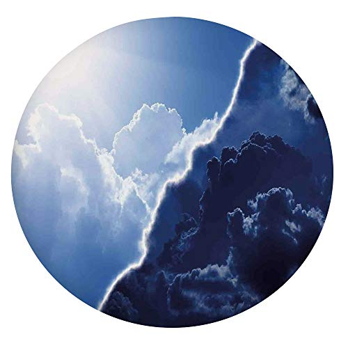 Mantel ajustable de poliéster con bordes elásticos, compuesto de tema oscuro y ligereza en diversos tonos de Skyline para mesas redondas de 91 a 101 cm, protección para tu mesa, azul marino