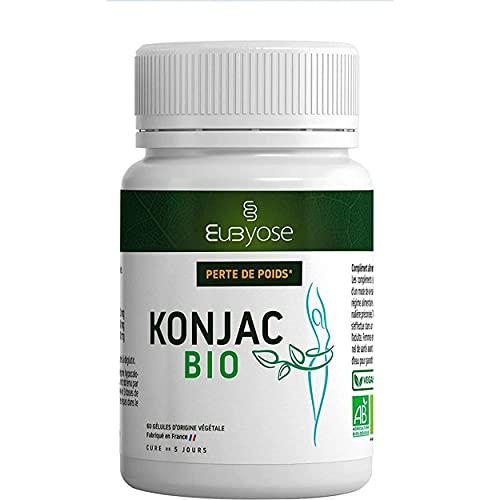 KONJAC BIO | GLUCOMANNANE 3400 mg Extra Fort|Certifié AB|Fabrique en France| Compléments Alimentaires Bien être vital|60 gelules| Vegan |100% Produits Naturels| EUBYOSE SYMBIOTIQUE