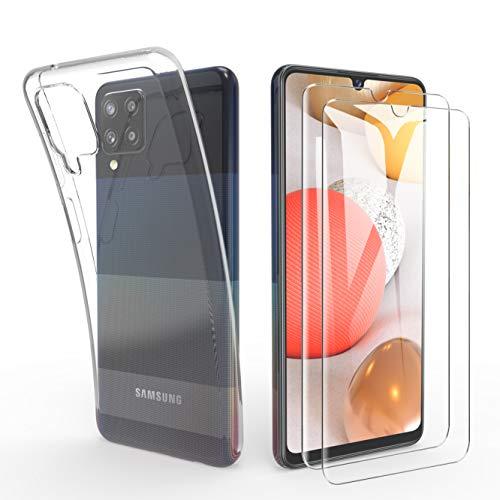 SMYTU Samsung Galaxy A42 5G Klar Hülle mit Panzerglas,[1 Hülle + 2 Panzerglas] Dünn Schutzhülle Slim Stoßfest Clear Durchsichtige Bumper Cover Handyhülle für Samsung Galaxy A42 5G - Transparent