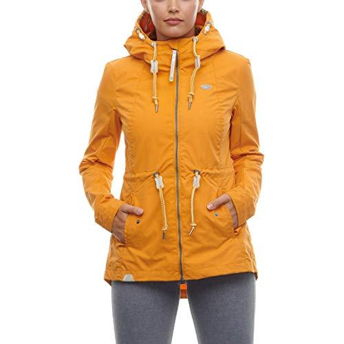 Ragwear Monadis damska kurtka przejściowa, damska kurtka z kapturem, taliowana, wodoodporna, Regular Fit, żółta, XS