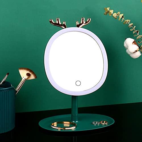 Recet Joyero para joyas, caja organizadora para collares, pendientes, soporte para joyas (espejo LED)