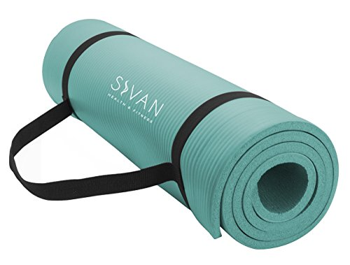 Sivan Health and Fitness 1/2-InchExtra Thick 71-Inch Long NBR Comfort Foam Yoga Mat for Exercise, Yoga, and Pilates (Teal)