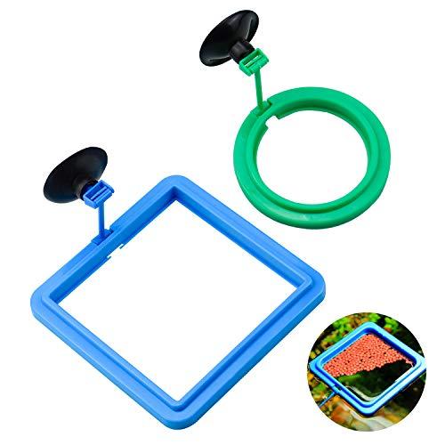 WEKON 2er Pack Fisch Fütterung Ring mit Saugnapf, Quadrat und Runde Kunststoff, Aquarium Fütterungsring, Schwimmender Futterring Floating Fütterung Werkzeug für Aquarium Fische