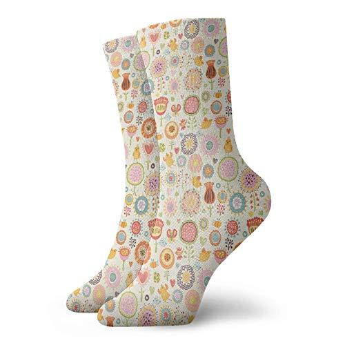 Tommy Warren Sneaker Socken Unisex Running-Socken,Retro verzierte Blumen im Zeichenstil kleine Herzen niedliche singende Vögel reizender Garten,Crew Socken Bequem Atmungsaktiv Kurzsocken