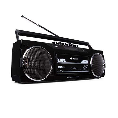 auna Duke - DAB Kassettenrekorder, Bluetooth-Funktion, DAB+/FM-Radio, Direct Encoding von Kassette auf USB/SD, separater Bass- und Lautstärkeregler, Teleskopantenne, schwarz