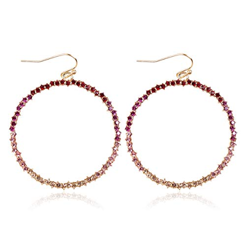 RIAH FASHION Sparkly Rhinestone Lightweight Geometric Hoop Drop Earrings - Teardrop, Pear, Oval, Marquise, Circle, Multi Cubic Crystal, Acrylic Pearl Dangles (Circle Hoop - Red Ombre)