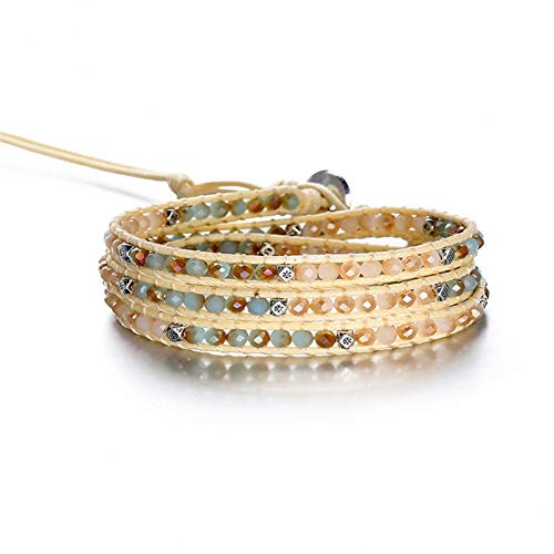 DMUEZW kralen weven bedelarmbanden voor vrouwen verklaring natuursteen handgemaakte lederen touw wrap armband mode sieraden