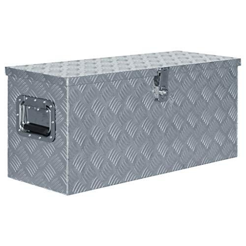 Festnight Aluminiumkiste | Allzweck Transportkoffer | Deichselbox | Staukasten | Alukiste Alubox | mit Schließsystem | Silbern 80×30×35 cm