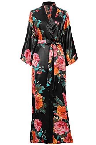 Coucoland Damen Morgenmantel Sommer Blumen Muster Maxi Lang Kimono Kleid Bademantel Damen Lange Robe Blumen Schlafmantel Girl Pajama Party 135 cm Lang (Schwarz)