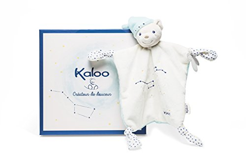 Kaloo-K960296 Pequeña Estrella Osito de Peluche Doudou con 4 Nudos, Color Beige/Azul (Juratoys K960296)