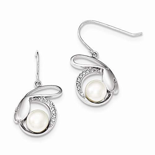 Pendientes de plata de ley 925 con circonita cúbica de diamante de imitación de 8 mm de 9 mm de agua dulce cultivada botón perlas medidas 29 x 17 joyas regalos para mujeres