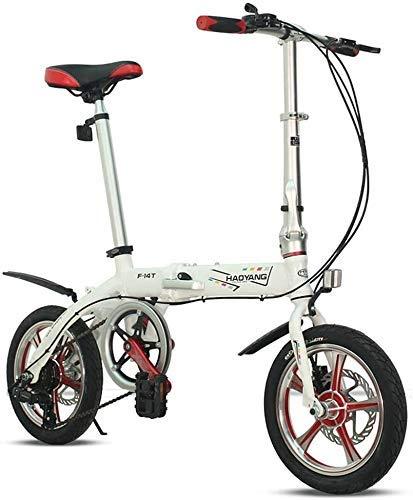 WXHHH Assorbimento degli Urti Leggero Folding Bike, 14 Pollici Adulti Doppio Freno a Disco Pieghevole Bicicletta Mini Commuter Bici Bicicletta