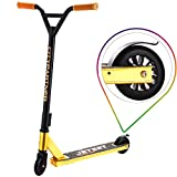 Kick Scooters - Beginner Stunt Scooters for Kids 8 Years and Up - Quality Freestyle Kick Scooter for Boys, Girls, Teens, Adults - Best Trick Scooter for BMX Freestyle Tricks (Gold)