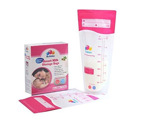Bebecom 2 Box of 25 Counts Breastmilk Storage Bags with Thermal Sensor. 12 Oz 350 ml zip lock Breastfeeding Breast Milk Storage comes Pre Sterilized & BPA Free with Accurate Measurements & Leak Proof.