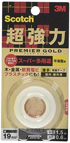 3Mスコッチ超強力両面テープ プレミアゴールド スーパー多用途薄手19mm×1.5m KPU-19