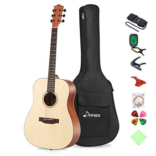Donner Akustik Gitarre Starter Set Full Size, Akustikgitarre Dreadnought 41 Zoll Natur Mahagoni Fichte mit Tasche Tuner Capo Plektren Gurt Saiten (DAG-1)