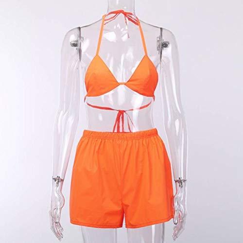 JUSTTIME Effen Bikini Badpak BH Reflecterende Top Shorts Twee Stuk Set S ORANJE