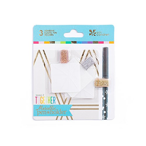 Erin Condren Adhesive Metallic Pen Holder Trio - Pack of 3 Colors - Gold, Platinum, Rose Gold. Add to Agendas, Organizers, Notepads, Deskpads, Clipboards, and Much More