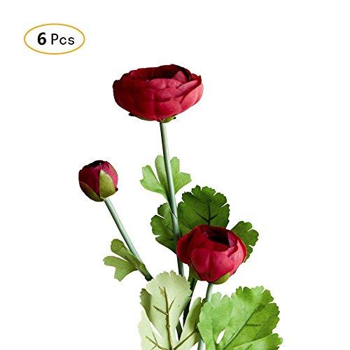 Jia HU Lot de 6 bouquets de fleurs artificielles Pivoine de Pivoine arrangements plantes d'intérieur Décoration extérieure Red
